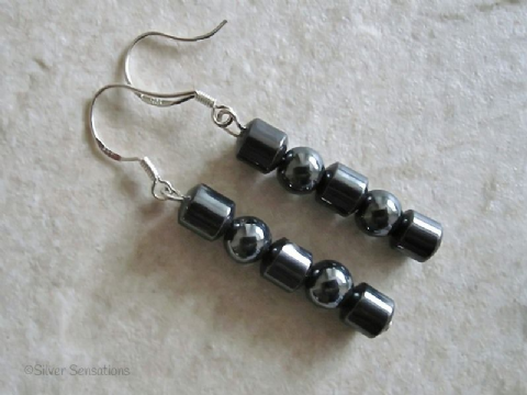 Hematite Drums & Rounds Sterling Silver Drop Earrings